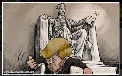 Cartoon from official PA daily Al-Hayat, published on January 21st, showing the Lincoln memorial giving US President Donald Trump a thumbs down. (Credit: Screen shot of Al-Hayat website)