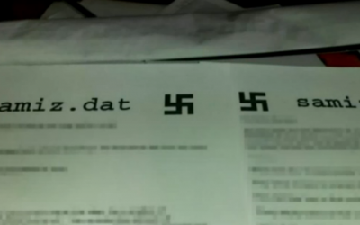 Fliers with swastikas that appeared on printers at the University of California, Berkeley, January 2017 (NBC screenshot)