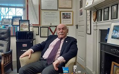 Michael Shinagel, former dean, was the longest-serving person in the position in Harvard's history. Here he is pictured in his office. (Rich Tenorio/Times of Israel)