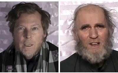 This composite image made from video released by the Taliban on Wednesday, Jan. 11, 2017 shows an American identified as Kevin King, right, and an Australian identified as Timothy Weekes making a statement on camera while in captivity.  (militant video via AP)