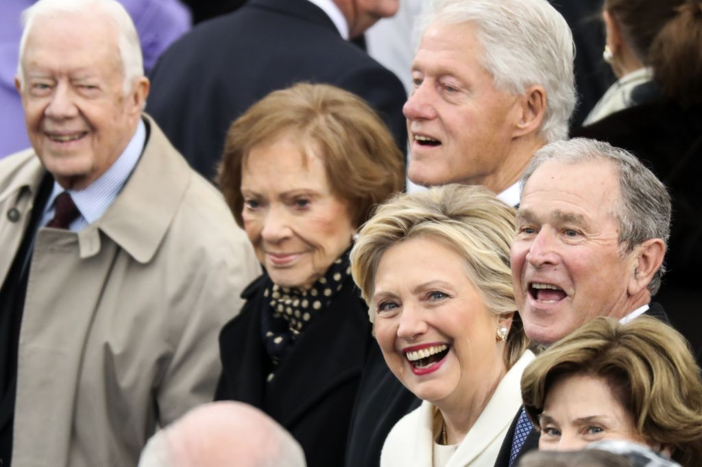 Former President Jimmy Carter (L-R), Rosalynn Carter, Former President Bill Clinton, Hillary Clinton and Former President George W. Bush wait for the 58th Presidential Inauguration to begin at the U.S. Capitol in Washington, Friday, Jan. 20, 2017. (AP Photo/Andrew Harnik)