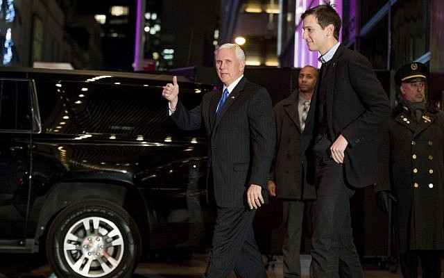 In this Dec. 7, 2016 file photo, Vice President-elect Mike Pence, left, and Jared Kushner, second from right, depart from Trump Tower, in New York. (AP Photo/Andrew Harnik)