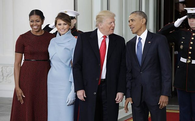 Then president Barack Obama and first lady Michelle Obama pose with then president-elect Donald Trump and his wife Melania at the White House in Washington, Friday, Jan. 20, 2017. (AP Photo/Evan Vucci)