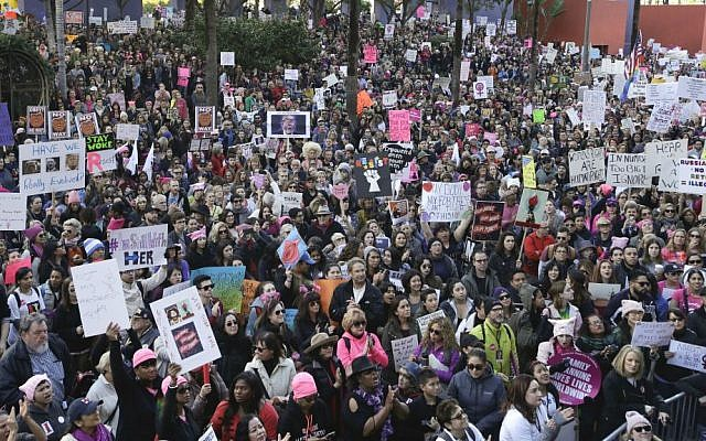 Protesters fill the streets of downtown Los Angeles during the Women's March against President Donald Trump, Saturday, Jan. 21, 2017. (AP Photo/Jae C. Hong)