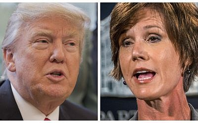 President Donald Trump fired on January 30, 2017 his acting attorney general, Sally Yates, after she ordered Justice Department staff not to defend his executive order banning travel from seven Muslim countries. (AP)