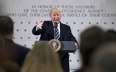 President Donald Trump speaks at the Central Intelligence Agency in Langley, Virginia, Saturday, Jan. 21, 2017. (AP Photo/Andrew Harnik)