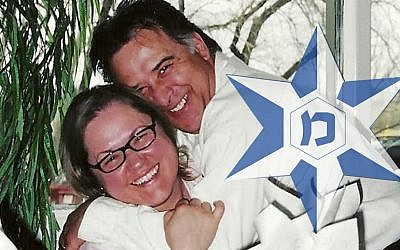 Composite image: Fred and Maria Turbide, and an Israel Police logo (Courtesy)