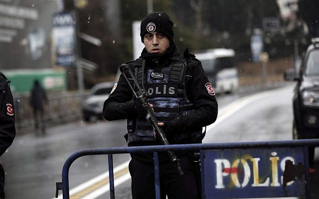 Illustrative: Turkish police officers block the road leading to the scene of an attack in Istanbul, early, January 1, 2017. (AP/Halit Onur Sandal)
