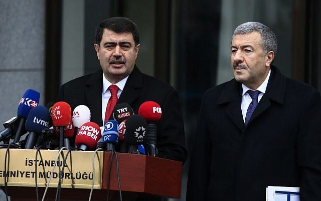 Istanbul Gov. Vasip Sahin (L) accompanied by Police Chief Mustafa Caliskan, talks to the media during a news conference regarding the arrest of a suspect of New Year's nightclub attack in Istanbul, Tuesday, Jan. 17, 2017. (AP Photo/Lefteris Pitarakis)