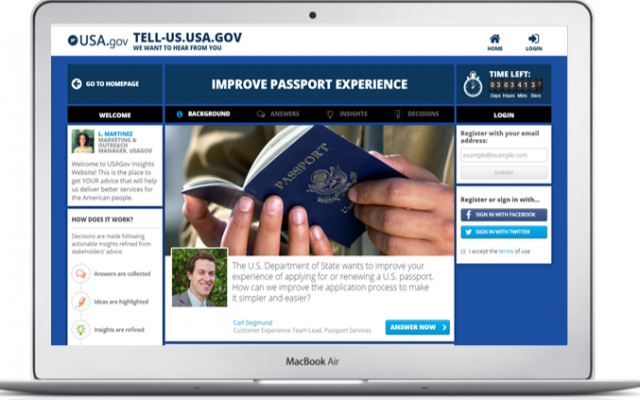 Image of the USA.GOV website that seeks feedback on how to make the passport issuing process easier using Israel's Insights.US decison making app (Courtesy)