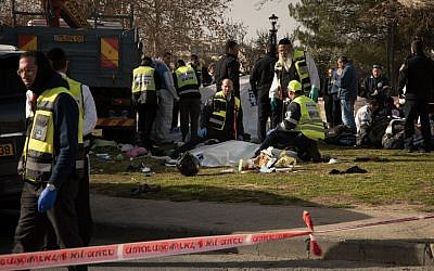 First responders at the scene of a terror attack in Jerusalem, January 8, 2016. (Luke Tress/Times of Israel)