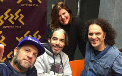 Shaanan Streett (left), Guy Mar and Yair Cohen Harounoff of Hadag Nahash with Hadar Marks (top) at Galgalatz radio station. (Courtesy Galgalatz)