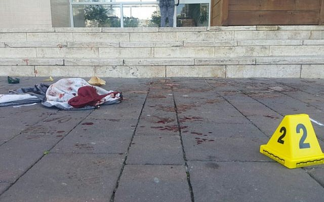 The scene of a stabbing attack in the port city of Ashdod on January 5, 2017. (Israel Police)