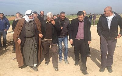 MKs from the Joint (Arab) List join locals to view the building demolitions in Qalansawe, January 10, 2017 (Courtesy: Joint Arab List)
