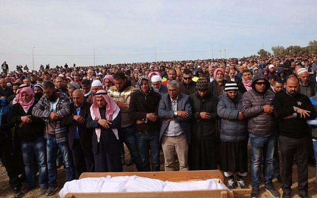 Mourners attend the funeral of Yaqoub Mousa Abu Al-Qia'an, killed in violent clashes over during house demolitions in the Bedouin village, near Hura on January 24, 2017. (Joint List Spokesperson)