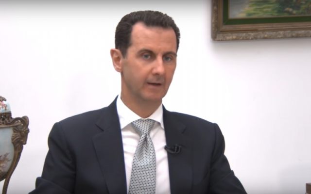 Syrian President Bashar Assad appears in an interview with Japanese television station TBS aired on January 20, 2017. (Screen capture: YouTube)