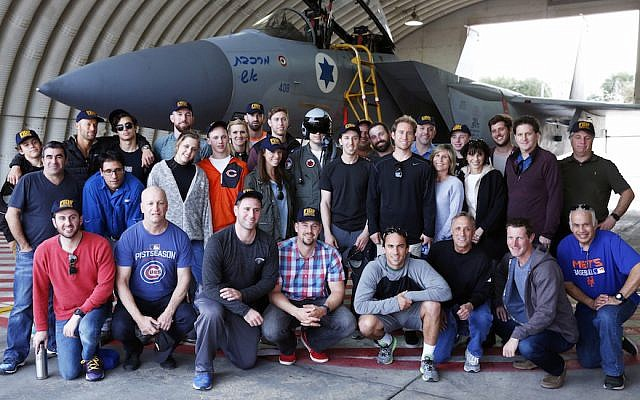 Members of the team representing Israel in the World Baseball Classic and the rest of their delegation visiting the Tel Nof Israeli Air Force base  near Rehovot. (Daniel Bar-On)