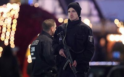 Security guarding the area following a deadly truck-ramming attack in Berlin, Dec. 19, 2016. (Sean Gallup/Getty Images)