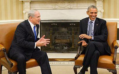 Prime Minister Benjamin Netanyahu (L) meets with US president Barack Obama, at the White House, Washington DC, USA on November 9, 2015. (Photo by Haim Zach/GPO/via JTA)