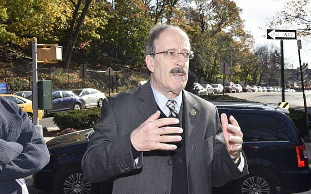Rep. Eliot Engel (D-New York) attends a memorial vigil for victims of the Paris terror attack in the Bronx neighborhood of New York City, Nov. 15, 2015. (Eugene Gologursky/Getty Images via JTA)