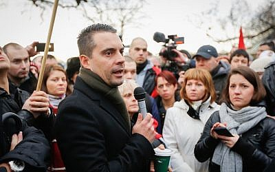 Far-right Hungarian MP Gabor Vona speaks to a crowd on January 26, 2014 in London, England. (Dan Dennison/Getty Images via JTA)