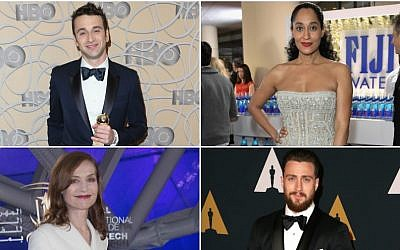 Top left, clockwise: Justin Hurwitz, Tracee Ellis Ross, Aaron Taylor-Johnson, Isabelle Huppert (Getty Images, via JTA)