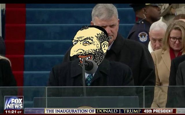 An anti-Semitic caricature posted on Twitter is pasted over the face of Rabbi Marvin Hier, founder of the Simon Wiesenthal Center, in a photo in which he is seen delivering a blessing at the inauguration of President Donald Trump, January 20, 2017. (YouTube screen capture)
