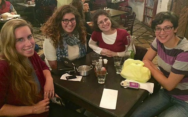 Erica Shaps (second from left) at a recent reunion of IFYC friends in Jerusalem. (Courtesy)