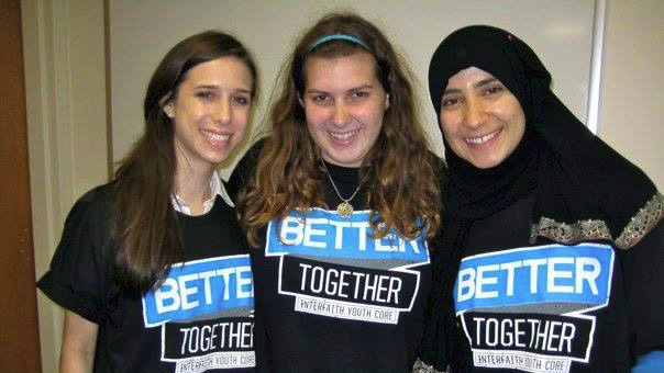 Erica Shaps (center) and friends participated in an Interfaith Youth Core 'Better Together' sock drive in 2011. (Courtesy)