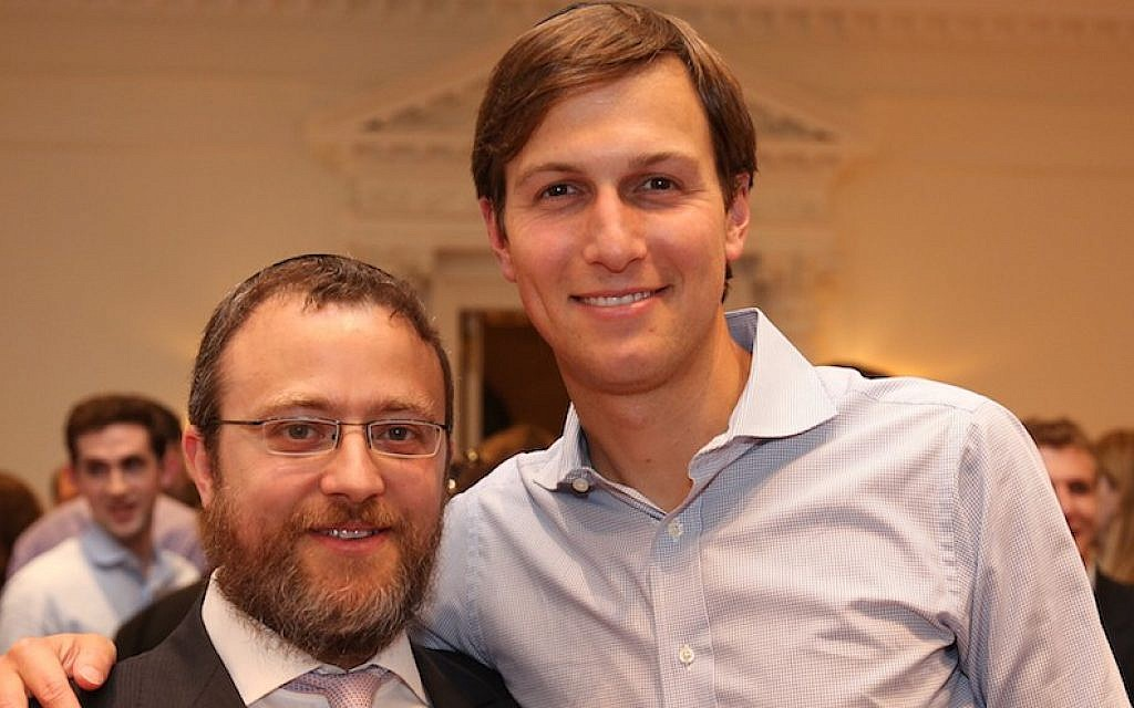 Jared Kushner and Rabbi Hirschy Zarchi at the Harvard Chabad New York Alumni Reception, June 2013. (Harvard Chabad)