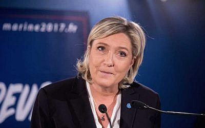 French far right National Front (FN) political party leader Marine Le Pen, member of the European Parliament, and candidate for the 2017 French Presidential elections presents her New Year's wishes to the press at her campaign Presidential headquarters, in Paris, France, January 4, 2017.  (Christophe Morin/IP3/Getty Images)