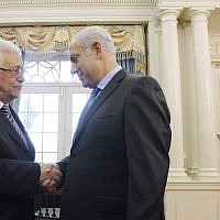 Palestinian Authority President Mahmoud Abbas, left, shakes hands with Prime Minister Benjamin Netanyahu before holding direct peace talks at the State Department in Washington, DC, Sept. 2, 2010. (Jason Reed-Pool/Getty Images via JTA)