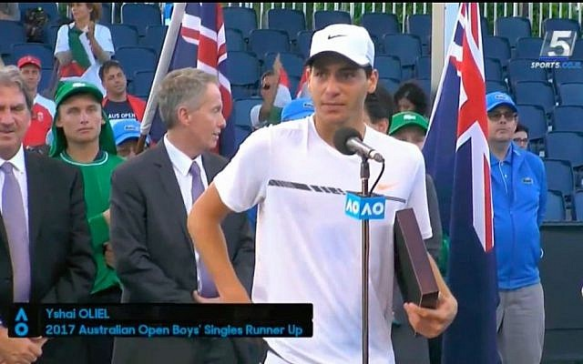 Israeli tennis player Yishai Oliel at the Australian Open junior Grand Slam on January 28, 2017. (screen capture: Channel 5)