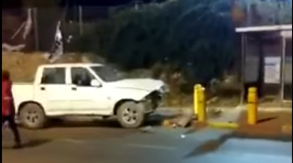A vehicle used in a suspected car-ramming attack at bus stop near a West Bank settlement on January 25, 2017 (screen capture: YouTube)