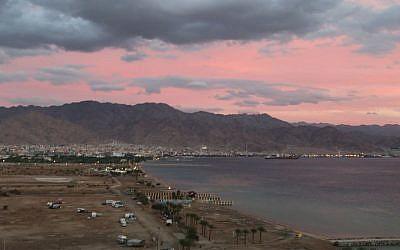 Sunset over Eilat, looking towards the Jordanian border. (Shmuel Bar-Am)