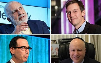 Top left, clockwise: Carl Icahn, Jared Kushner, Jason Greenblatt, Steven Mnuchin (Icahn photo: Neilson Barnard/Getty Images for New York Times; Kushner photo: Drew Angerer/Getty Images; Greenblatt photo: Uriel Heilman; Mnuchin photo: Andrew H. Walker/Getty Images for City Harvest)