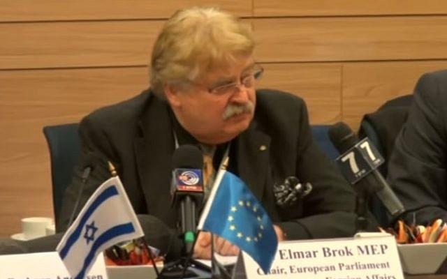 Elmar Brok, Chairman of the EU Parliament's Foreign Affairs Committee, at the Knesset, January 3, 2017 (YouTube screenshot/Arutz Sheva)