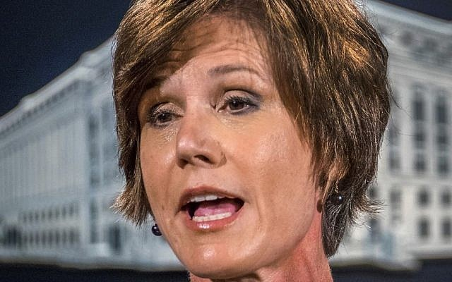 In this June 28, 2016, file photo, then-Deputy Attorney General Sally Yates speaks at the Justice Department in Washington. On Monday, Jan. 30, 2017, President Donald Trump fired acting Attorney General Sally Yates after she ordered Justice Department lawyers to stop defending refugee ban. (AP/J. David Ake, File)