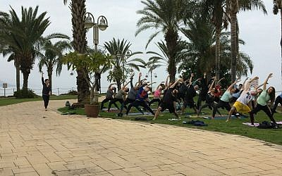 Participants in a specialized Birthright trip focused on yoga. (Courtesy of Hillel International/via JTA)