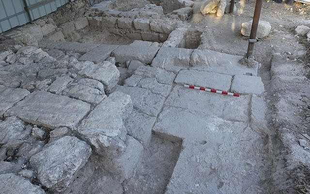 The Roman-era gateway and tower found at Beit She'arim in late 2016 by University of Haifa archaeologists. (Adi Erlich/University of Haifa)