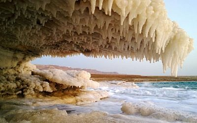 Salt stalactite formations at the Dead Sea. (courtesy Noam Bedein)