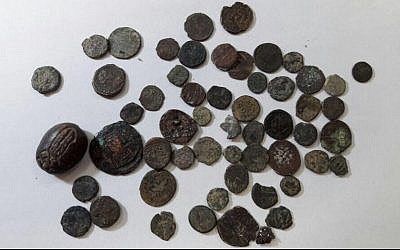 Ancient coins confiscated by Israeli authorities from Palestinian man crossing into the West Bank at the Allenby Bridge on February 16, 2017. (Israel Customs Authority)
