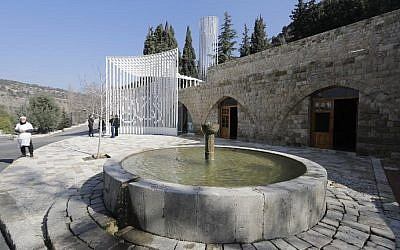 A picture taken on January 19, 2017 shows a fountain outside the Amir Shakib Arslan mosque designed by Lebanese architect Makram el-Kadi at the entrance of the Druze heartland village of Mukhtara in Lebanon's Chouf mountains. (AFP Photo/Joseph Eid)