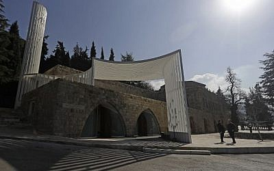 A picture taken on January 19, 2017 shows the exterior of the Amir Shakib Arslan mosque designed by Lebanese architect Makram el-Kadi at the entrance of the Druze heartland village of Mukhtara in Lebanon's Chouf mountains. (AFP Photo/Joseph Eid)