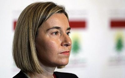High Representative of the European Union for Foreign Affairs, Federica Mogherini, holds a press conference with the Lebanese foreign minister after their meeting in Beirut on January 26, 2017. (AFP/Joseph Eid)