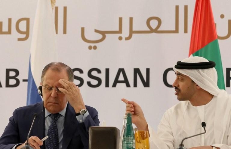 United Arab Emirates' Foreign Minister Sheikh Abdullah bin Zayed al-Nahyan  (R)