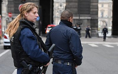 Illustrative photo of French police officers on patrol near the Louvre Museum in Paris, February 3, 2017 (AFP/Alain Jocard)