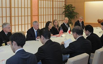 US Defense Secretary James Mattis (2nd L, on left side of table) attends a meeting with Japanese Minister of Foreign Affairs Fumio Kishida (2nd R, on right side) in Tokyo on February 3, 2017. (David Mareuil/AFP)