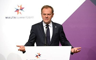 President of the European Council Donald Tusk attends a press conference during an European Union summit in Valletta, Malta, February 3, 2017. (AFP/Matthew Mirabelli)