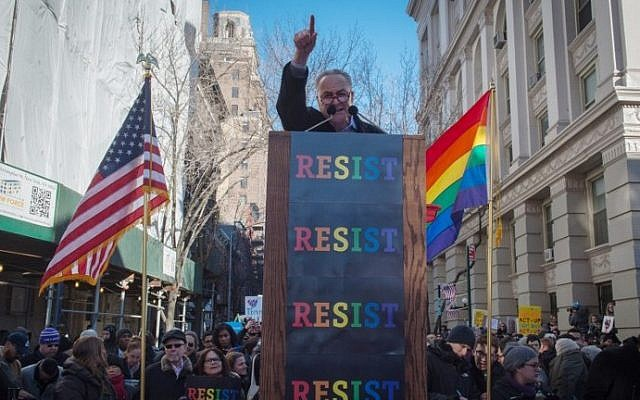 Illustrative: US Senator Charles Schumer speaks at a rally in front of the Stonewall Inn in solidarity with immigrants, asylum seekers, refugees, and the LGBT community on February 4, 2017 in New York. (AFP PHOTO / Bryan R. Smith)